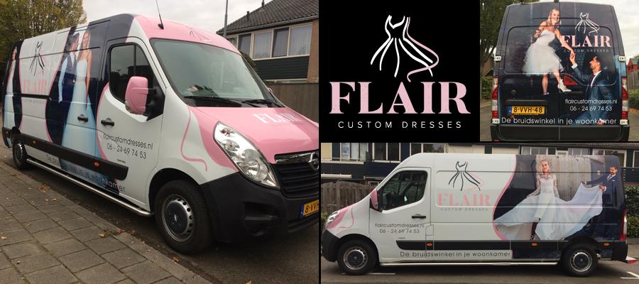 Van Veldhuizen Reclame laat de bruidsparen schitteren op deze mooie grote bus van Flair custom dresses.