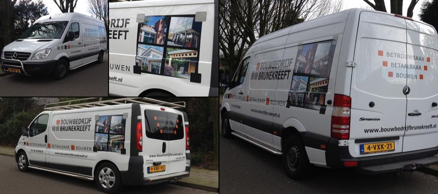 Stijlvol vakwerk bij de mannen van Brunekreeft, de reclame natuurlijk door van Veldhuizen Reclame.