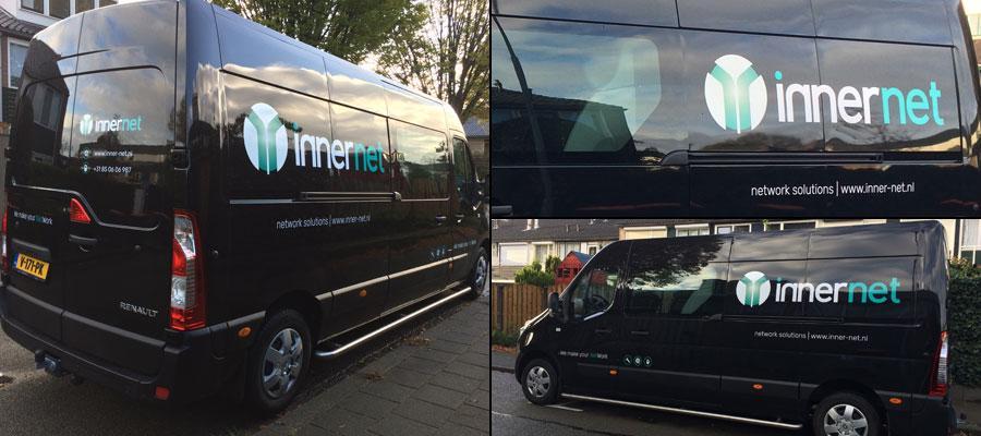 Goed voor het netwerk van Innernet network solutions, zo'n rijdend visitekaartje door van Veldhuizen Reclame.