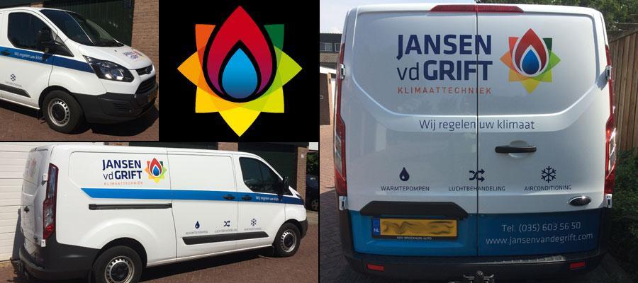 Reclame door van Veldhuizen Reclame om warm van te worden. Niet te warm hoor, want Jansen & vd Grift zet de airco wel even aan!