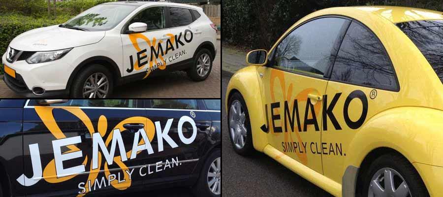 Alles is netjes bij JEMAKO, zo ook de reclame. Aan de auto aangepaste beletteringen door van Veldhuizen Reclame.