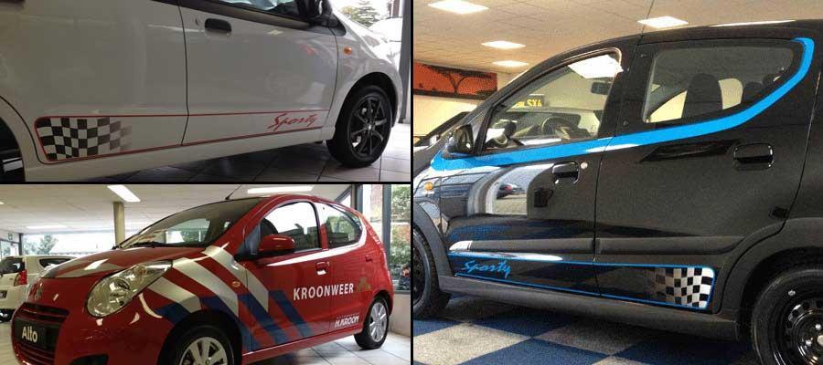 Alto belettering en striping bij Suzuki Kroon van special editions door van Veldhuizen Reclame.