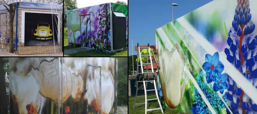 Glasvezelhuisjes ontworpen door kunstenares Anneke Semmekrot door ons, van Veldhuizen reclame uitgevoerd.