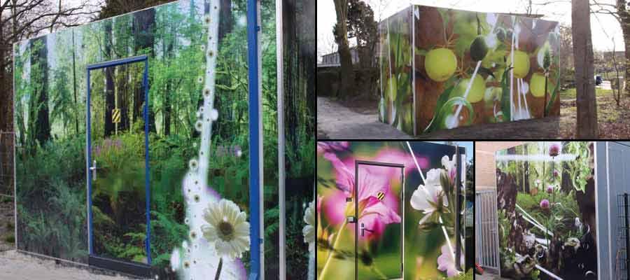 Glasvezelhuisjes ontworpen door kunstenares Anneke Semmekrot door ons uitgevoerd.