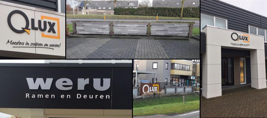 Een opfrisbeurt voor het pand van Weru - Qlux, met mooie 3D letters op de gevel door van Veldhuizen Reclame.