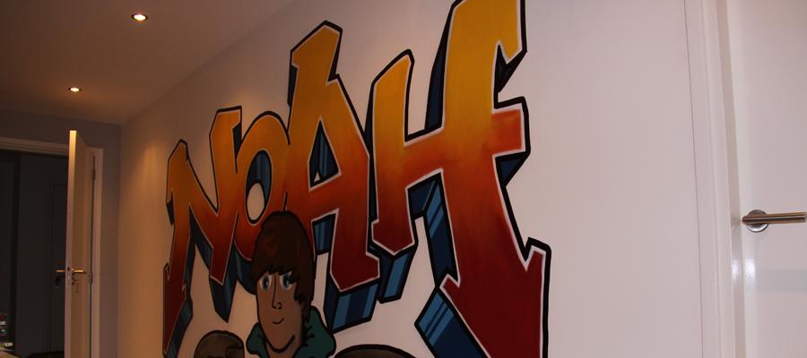 "Jongens slaapkamer graffiti ""NOAH""."