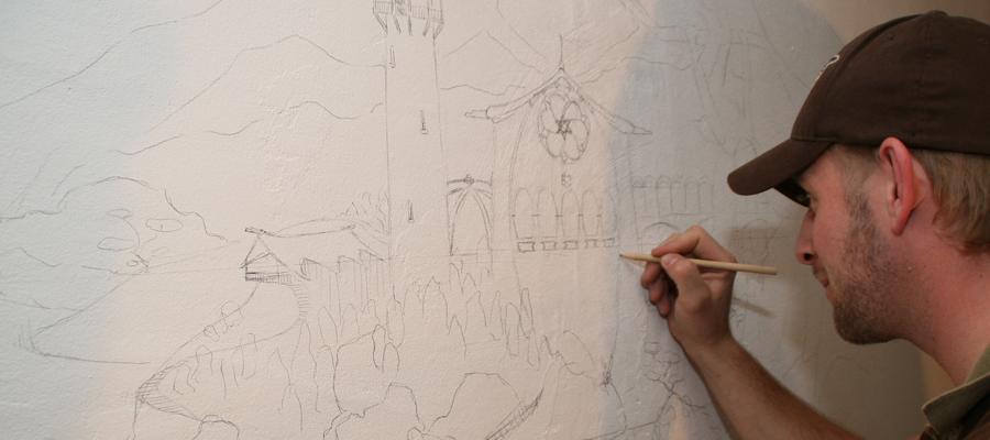 Muurschildering bestaande uit airbrush en schilderwerk.