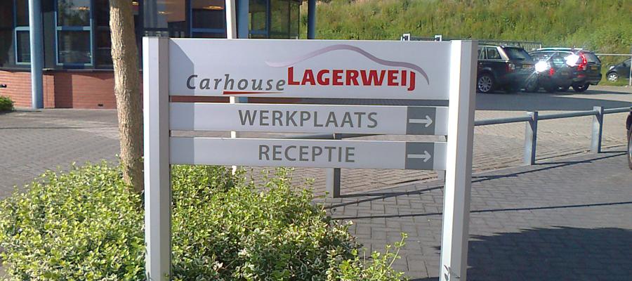 Persoonlijk bewegwijzering voor Carhouse Lagerweij.